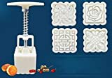 1 Set Square Moon Cake Molds With 4 Patterns Flower Print Decorating Cookies Molds Baking Pastry Tools, Easy to Use and Clean Gessppo