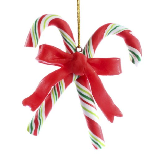 Package of 6 Polymer Clay Red and Greens Striped Candy Cane Ornaments Ornaments for Tree Trim, Package Decor, and ()