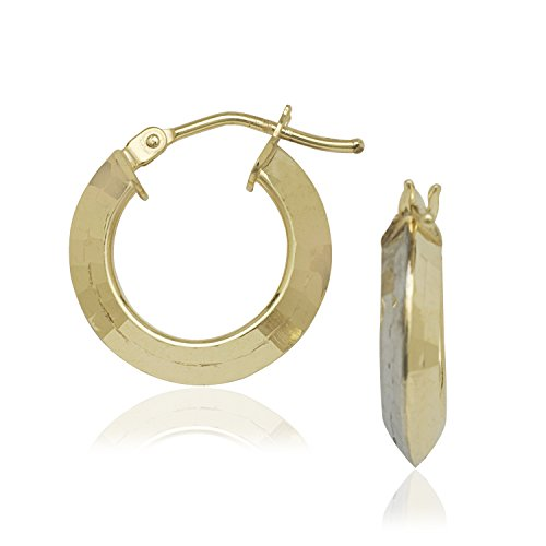 10k Yellow White Gold Shiny Sparkle-Cut 10x3.4mm Fancy Round Tube Two-tone Hoop Earrings Hinge Clasp
