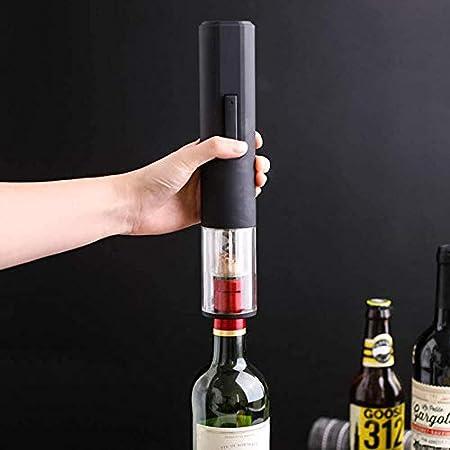 Sacacorchos eléctrico para vino con cortador de papel de aluminio sacacorchos automático, un regalo accesorio para los amantes del vino, removedor de corcho a pilas negro