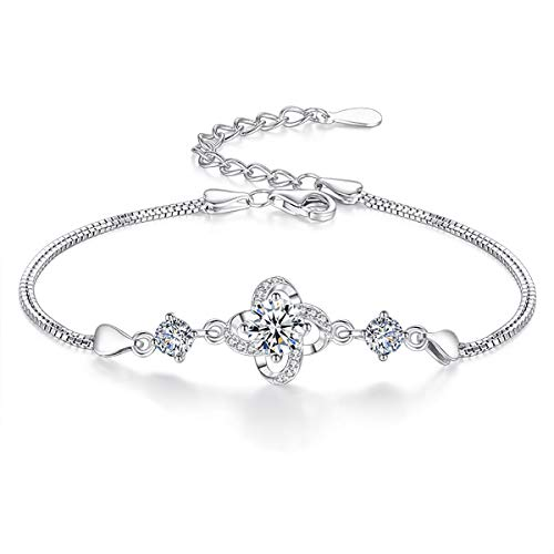 VANA JEWELRY 925 Sterling Silver Bracelet Cubic Zirconia Diamonds Dainty Charm Bracelet White Gold Plated Blue Butterfly Love Heart Deer Antlers Dolphin Link Bracelet w/Gift Box (Clover - Sterling Charm Silver 925 Dolphin