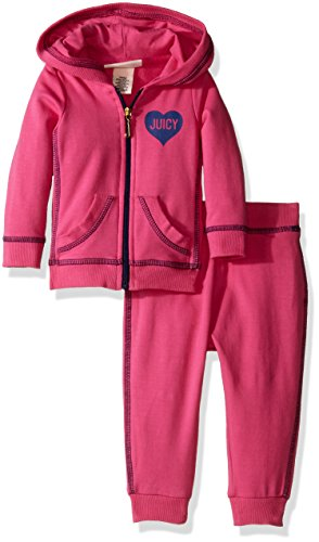Couture Zip Juicy (Juicy Couture Baby Girls' 2 Piece Hooded Jacket and Jog Pant Set, Pink, 18 Months)