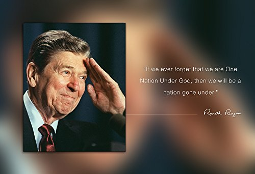Ronald Reagan Photo Picture Poster Framed Quote If we Ever Forget That we are one Nation Under God US President Portrait Famous Inspirational Motivational Quotes (13x19 Unframed Poster)