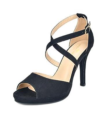 DREAM PAIRS Women's Stiletto Dress Heel Pump Sandals