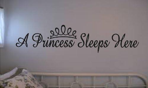 WALL DECAL VINYL LETTERING A PRINCESS SLEEPS HERE GIRLS ROOM