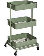 SONGMICS wagen met 3 niveaus, opbergwagen, keukenplank met wielen, in hoogte verstelbare schappen, serveerwagen met 2 remmen, eenvoudige montage, voor badkamer, keuken, kantoor