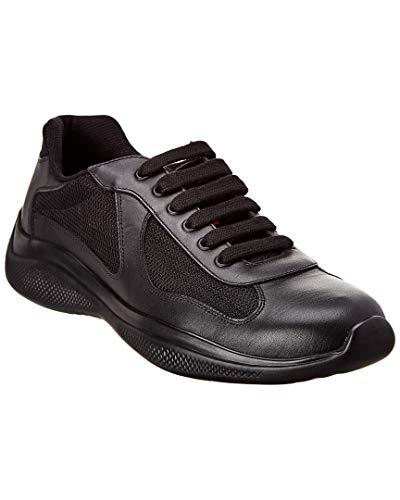 Prada America's Cup Leather & Mesh Sneaker, 6.5, Black