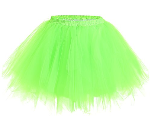 JustinCostume Women's 80's Skirt Neon Rainbow Tulle Petticoat Neon Green XL/XXL (The 80s Outfits)