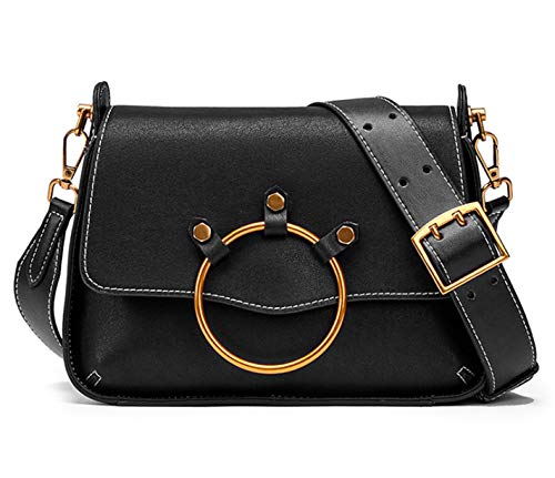 Wide Saddle First Messenger Cowhide Yeying123 Retro Layer Fashion Bag black Shoulder Strap Handbag Leather Bag wFwq1YxS