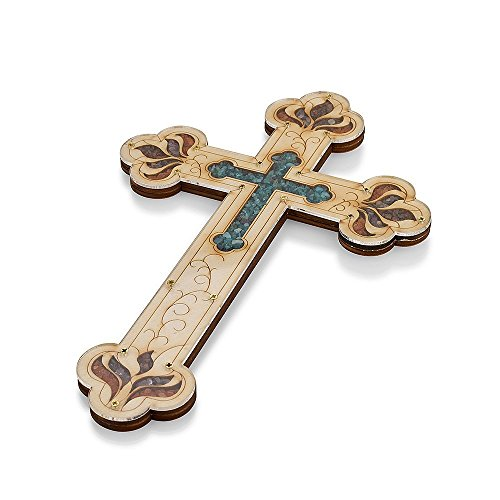 Wall Wood Cross Vintage Jerusalem Gemstones Antique Style Decor (Gemstone Religious Cross)