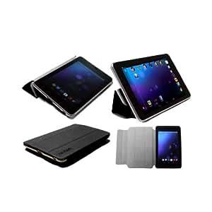 NAVITECH Funda rígida color negro pantalla y Smart Cover con función wake/sleep & Protector de pantalla anti reflejo para el Google Nexus 72012