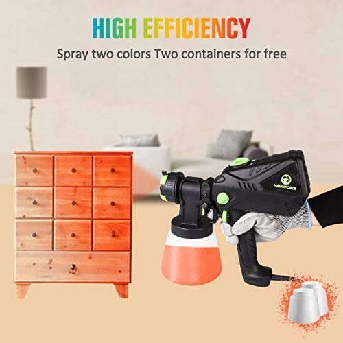 Hawkforce Electric Paint Sprayer with 2PCS 1000ml Detachable Container,1200ml/min, 700 Watt High Power HVLP Home Spray Gun,Flow Control,4 Nozzle Sizes, 3 Spray Patterns for Various Painting Projects