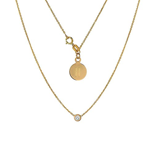 Tousi Jewelers Diamond Necklace Solitaire Pendant- Solid 14k or 18k Yellow Gold - Bezel Set Necklaces-Free Personalized Initials Engraving for Women & Girls