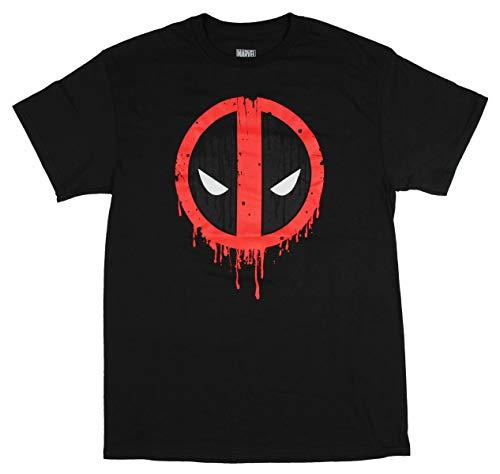 Marvel Deadpool Men's Drip Pool Art Face Logo Adult Comic T-Shirt Tee Top (X-Large) Black ()