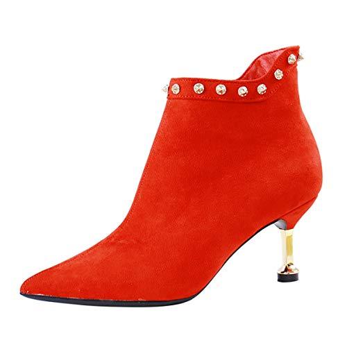 LBTSQ-Aus Seite Reißverschluss Kurze Stiefel 7Cm Temperament Braut Hochzeit Schuhe Spitze Dünnen Absätzen High Heels.