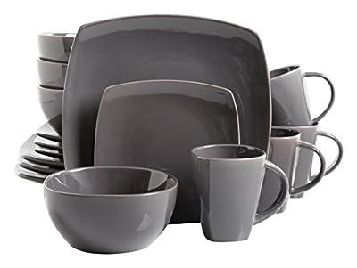 Gibson Soho Lounge 16-Piece Square Reactive Glaze Dinnerware Set, Celadon