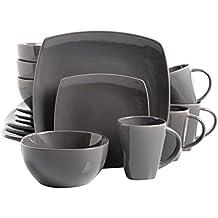 Gibson Soho Lounge 16-Piece Square Reactive Glaze Dinnerware Set, Grey
