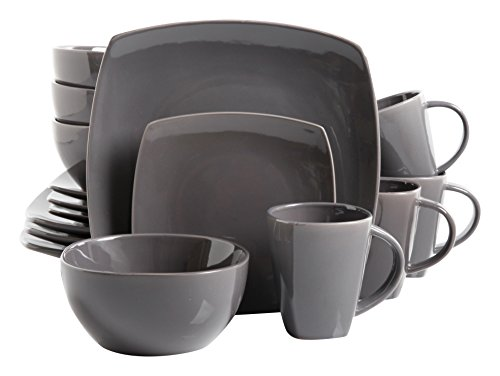 Gibson Soho Lounge 16-Piece Square Reactive Glaze Dinnerware Set, Grey (Grey Square Dinnerware Sets)