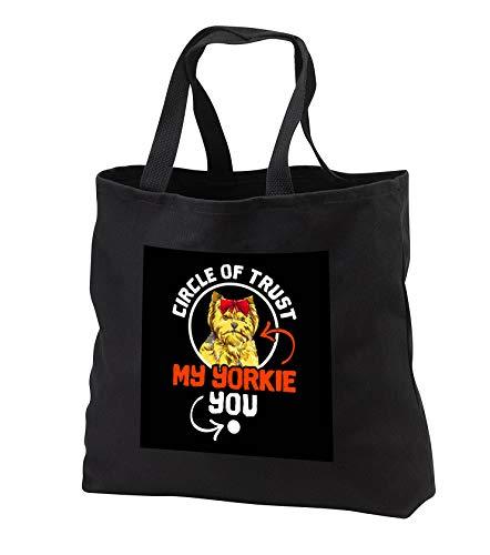 - 3dRose Sven Herkenrath Dogs - Circle of Trust Yorkie Yorkshire Terrier Dog - Black Tote Bag JUMBO 20w x 15h x 5d (tb_317532_3)