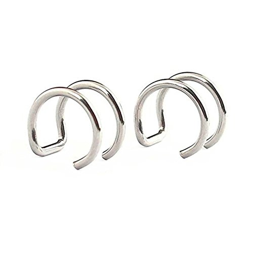 Cartilage Cuff (SummShine Surgical Steel Non-Pierced Clip On Earrings Fake Ear Nose Cartilage Cuff Ring (Silver))