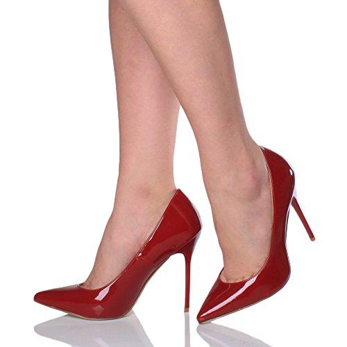 Damen Höher Absatz Kontrast Stilettos High Heels Spitz Gepflegt Fesch Arbeit Pumps Schuhe Dunkelrot Lack