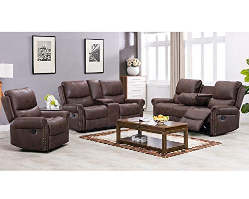 Recliner Sofa Living Room Set Reclining Couch Sofa Chair Leather Loveseat 3 Seater Home Theater Seating Manual Recliner Motion for Home - Seater 3 Small