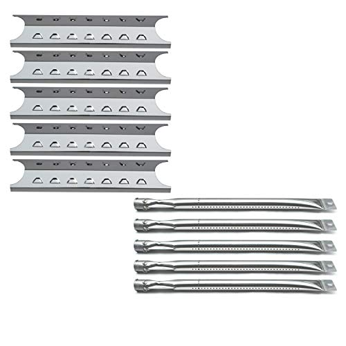 Direct Store Parts Kit DG194 Replacement Master Forge 5 Burner Gas Grill L3218, 3218LTN Grill Burner, Heat Plate (SS Burner + SS Heat Plate)