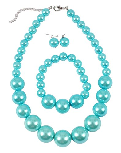 Shineland Simple Large Big Simulated Pearl Statement Necklace Bracelet and Earrings Jewelry Set - Teal Set Pearl