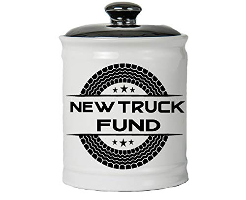 Cottage Creek Gifts for Men New Truck Fund Ceramic Piggy Bank/Truck Coin Bank Round Decorative Jar [White]