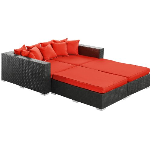 Modway Palisades 4-Piece Outdoor Wicker Patio Espresso Daybed Set with Red Cushions