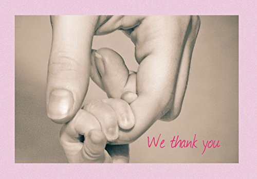 We Thank You New Baby Shower Thank You Note Cards - First Connection Girl - 20 Blank Greeting Cards and Matching Envelopes (Birth Pink Announcement)