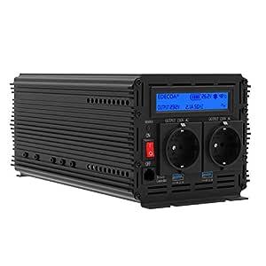Inversor electrico de 2000 4000w convertidor de voltaje de 24v a 230v transformador de corriente de onda sinusoidal modificada LCD