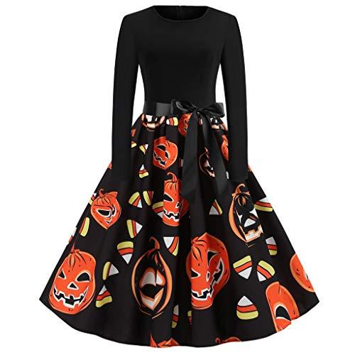 Halloween 9 Ending (haoricu Halloween Dress Women Pumpkin Skull Skater Swing Dress Vintage Elegant A-line Dress)