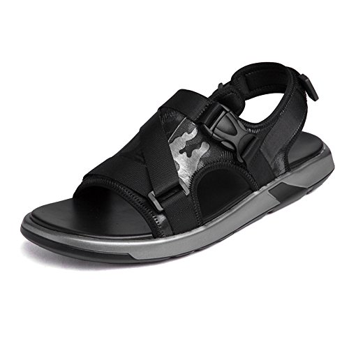 Leather Abrasion Slip Open Soft Flat Beach Genuine Resistant Black Sunny Outdoor Color Shoes Black amp;Baby 8 5MUS Toe Non Sandals Size Men's q0t06F