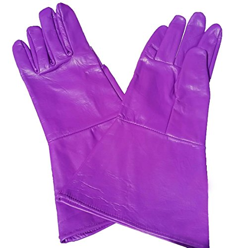 Leather Gauntlet Gloves PURPLE XX-SMALL (extra extra small)
