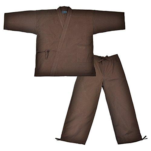 Edoten Men's Japan Kimono Ninjya Cotton100% Samue Brown M