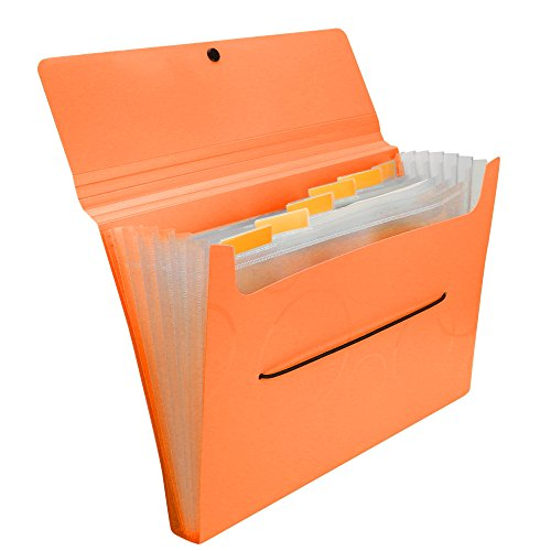 ordion File Folder with Smiley Elastic Rope Closure, Lightweight rigid File Organizer with Tabs, 7 Pockets ()