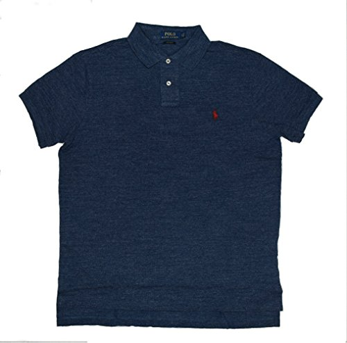 Polo Ralph Lauren Men Custom Fit Mesh Polo Shirt, Large, Blue Htr