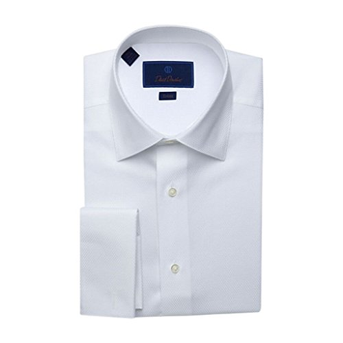 David Donahue Men's Dobby Weave Regular Fit Tuxedo Dress Shirt - Size 16, 34/35