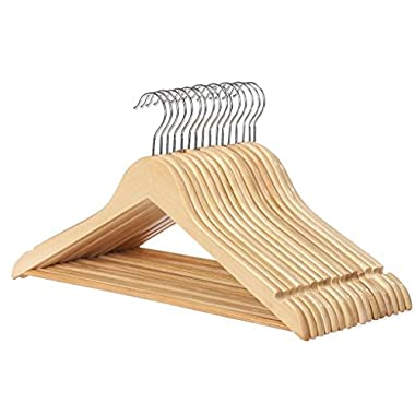 Paksh / Whitmor Multifunctional Natural Solid Wood Slim Suit, Trousers and Coat Hangers, Set of 16…