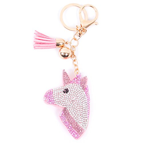 Ivysan Bling Sparkle Unicorn Leather Tassel Key Chain Handbag Car (Bling Keychain)