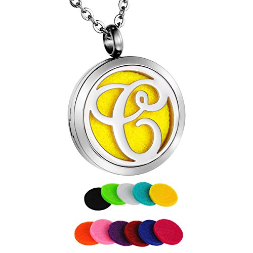 HooAMI Monogram C Aromatherapy Essential Oil Diffuser Necklace Locket Pendant with 11 Refill Pads from HooAMI