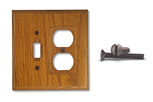 Square Wood Wall Plate Cover, 1 Toggle Switch & 1 Duplex Outlet, Solid ()