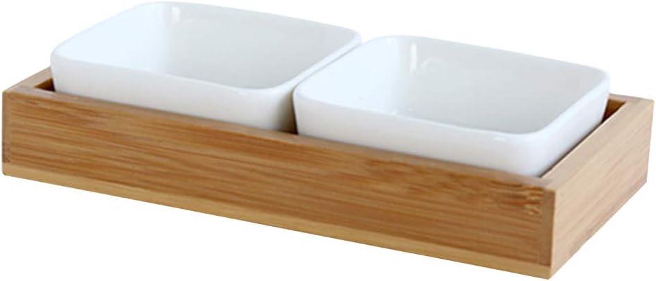 Godyluck Bañera Snack Bandeja de Servicio Aperitivo Bandeja de Servicio Caramelo Caja de Frutas secas Contenedor de Almacenamiento de Alimentos de bambú Contenedor Organizador: Amazon.es: Hogar