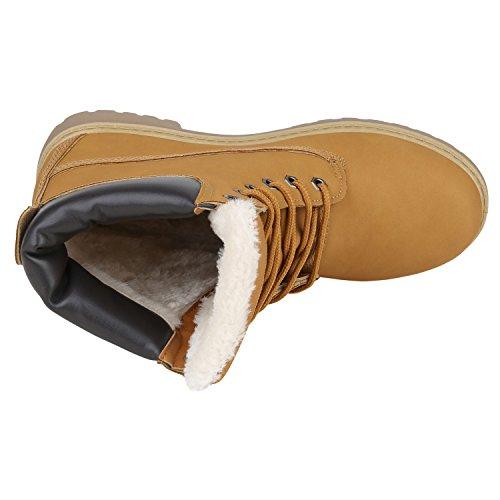 Stiefelparadies Warm Gefütterte Damen Stiefeletten Fell Worker Boots Outdoor Schuhe Flandell Hellbraun Weiss
