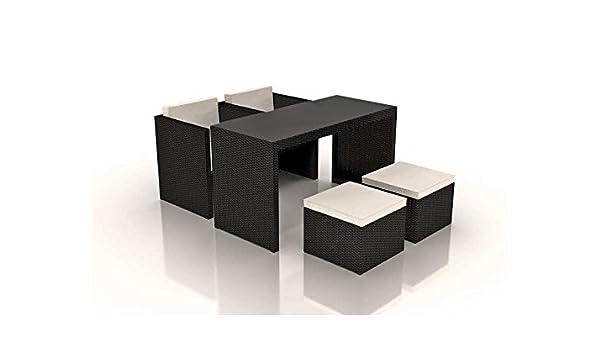 Ratán cubo conjunto de comedor de exterior con capacidad ...