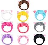 GuoZhiXin 10pcs Elastic Cat Ear Headbands, Headband for Women Wash Face Makeup Running Sport Spa Party, Lake Blue, Rose, Watermelon, Coffee, Grey, Pink, Yellow, Purple, Black, White, Large