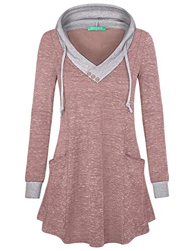 Kimmery Sport Hoodies for Women, Button V Neck Tops Fashion Long Sleeve Tunic Nice Stretch Lounge Sweatshirt Shiny Flowy Hem Figure Flattering Fall Pullover Blouse T Shirt Pink X-Large