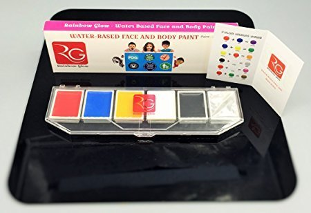 Rainbow Glow Face Paint Kit for Professional Adults, Non Toxic Hypo Allergenic & Kids Safe Long Lasting, Easy to Wash (Festive Makeup Kit)