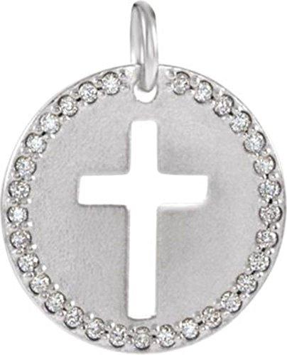 14K White .08 CTW Diamond Pierced Cross Disc Pendant in 14k White Gold